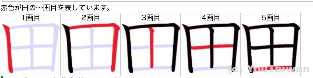 日本の田の書き順