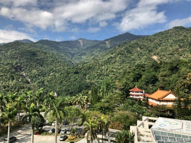 知本老爺の客室からの風景。大と木々の緑
